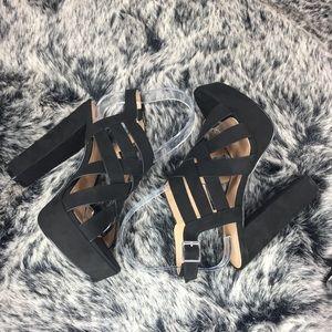 Black platform block heels